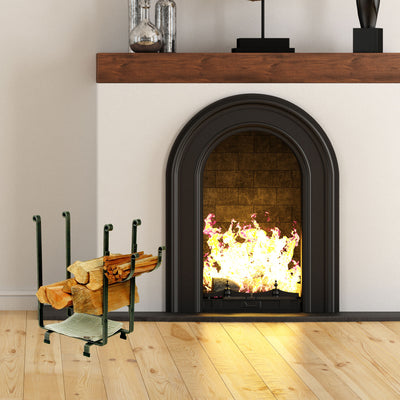 Rectangle Fireplace Log Rack w/ Newspaper Holder Hammered Steel - Enclume Design Products