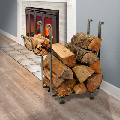 Indoor/Outdoor Rectangle Fireplace Log Rack Hammered Steel - Enclume Design Products