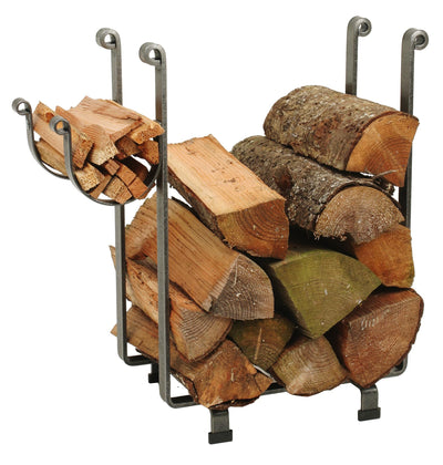 Indoor/Outdoor Rectangle Fireplace Log Rack Hammered Steel