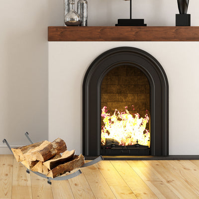 Arch Basket Fireplace Log Rack Hammered Steel - Enclume Design Products