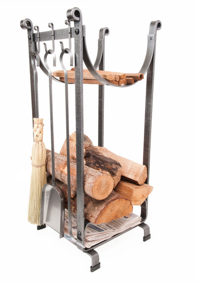 Handcrafted Sling Fireplace Log Rack w/Newspaper Holder and Tools