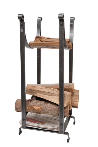Handcrafted Sling Fireplace Log Rack w Newspaper Holder