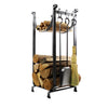 Sling Fireplace Log Rack w/ Bar and Tools Hammered Steel