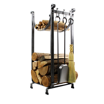 Sling Fireplace Log Rack w/ Bar and Tools Hammered Steel - Enclume Design Products