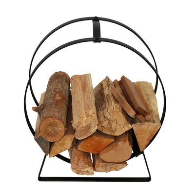 Indoor/Outdoor Hoop Fireplace Log Rack w/ Handle - Enclume Design Products
