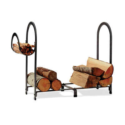 Arch Fireplace Log Rack Hammered Steel