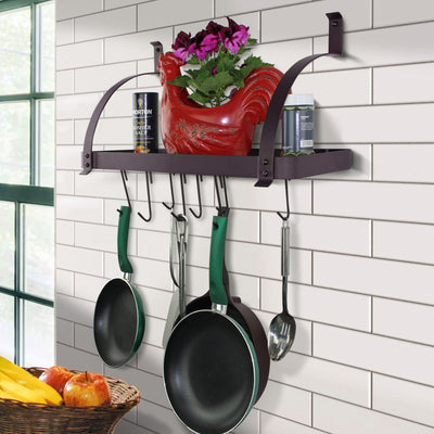 "24"" Rack It Up Bookshelf Wall Rack, w Curved Arms, Welded Frame & 8 Hooks - Enclume Design Products"