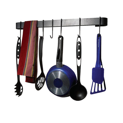 Rack It Up Wall Rack Utensil Bar w/8 Hooks Steel Gray Hammertone - Enclume Design Products