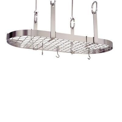 Four Point Oval Ceiling Pot Rack w/ 18 Hooks