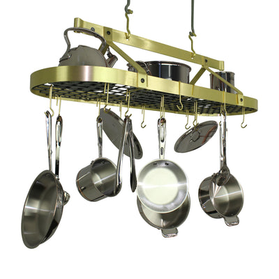 "Enclume® Handcrafted 60"" French Oval Ceiling Rack w/ 30 Hooks Brass Finish"