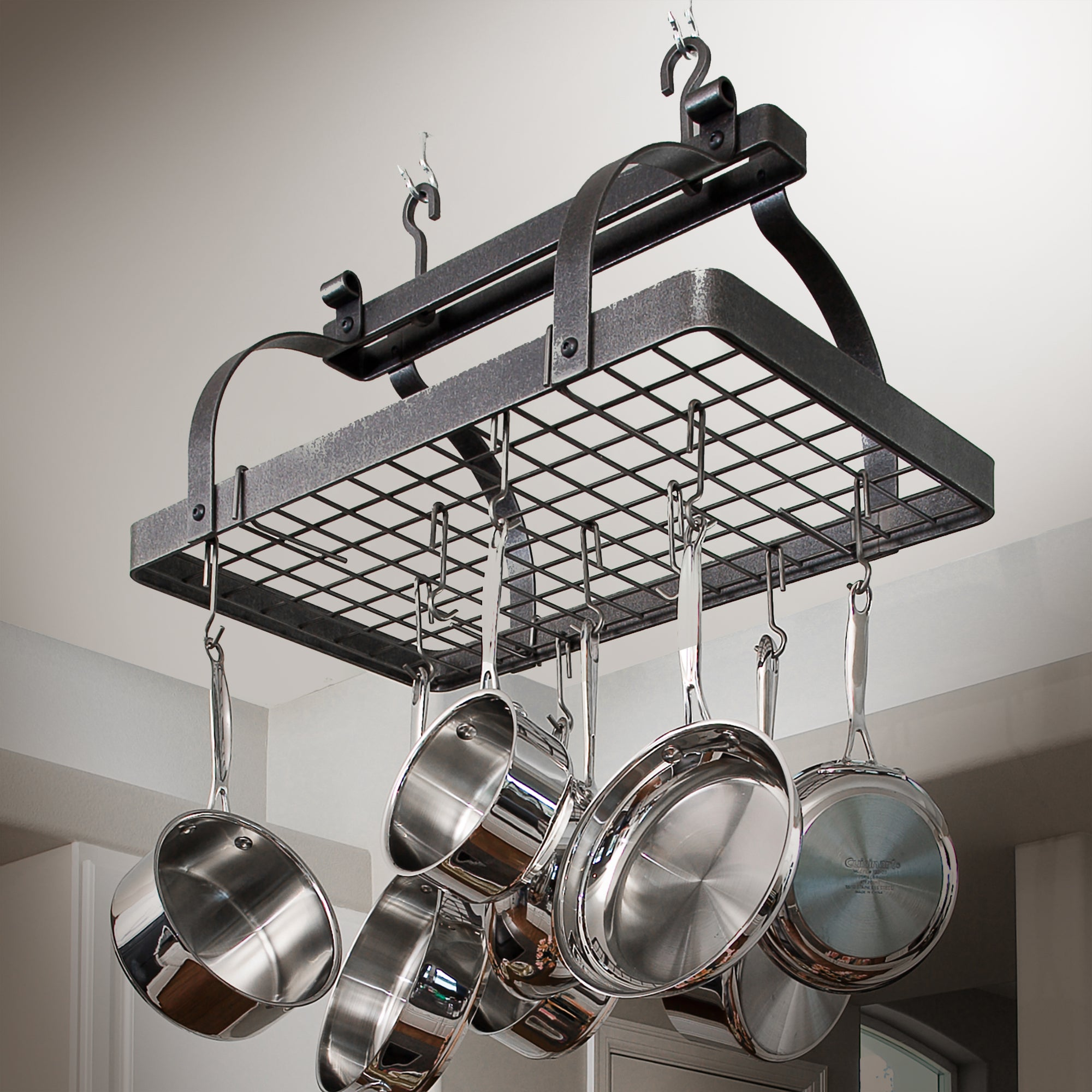 Classic Rectangle Ceiling Pot Rack w/ 12 Hooks - Enclume ...
