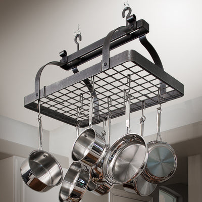 Classic Rectangle Ceiling Pot Rack w/ 12 Hooks