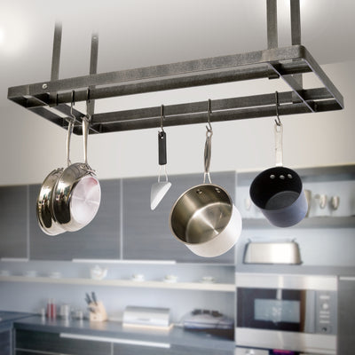All Bars Ceiling Pot Rack w/ 12 Hooks Hammered Steel - Enclume Design Products