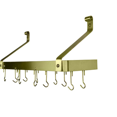 "Enclume® Handcrafted 36"" Gourmet Bookshelf Wall Rack w/ 12 Hooks Brass Finish"