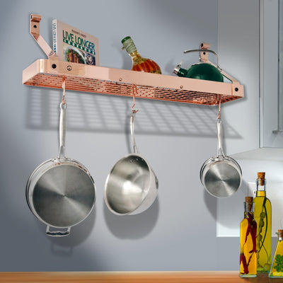 "24"" Gourmet Bookshelf Wall Rack w/ 12 Hooks - Enclume Design Products"