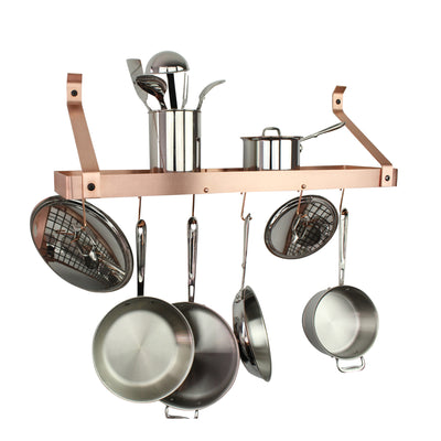 "30"" Gourmet Deep Bookshelf Wall Rack w 12 Hooks - Enclume Design Products"