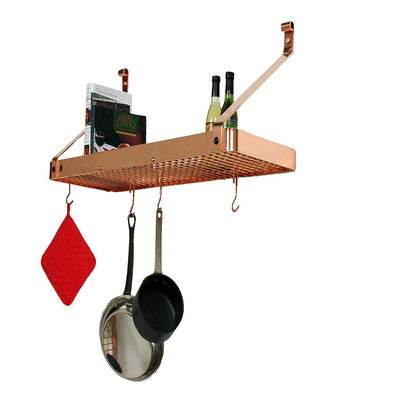 "36"" Gourmet Deep Bookshelf Wall Rack w/ 12 Hooks - Enclume Design Products"