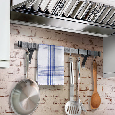 "Professional Series Rolled End Bar w 4"" Wall Brackets & Hooks - Enclume Design Products"