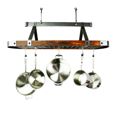 "Signature 45"" Oval Ceiling Pot Rack Hammered Steel w/Tigerwood - Enclume Design Products"