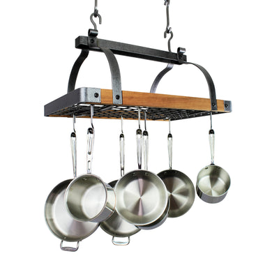 "Signature 30"" Rectangle Ceiling Pot Rack Hammered Steel w/Tigerwood - Enclume Design Products"