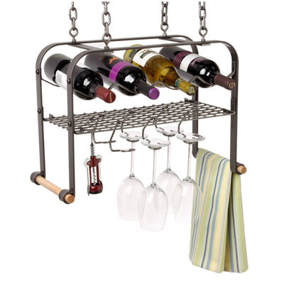 Hanging Wine & Accessories Rack (4 bottles)