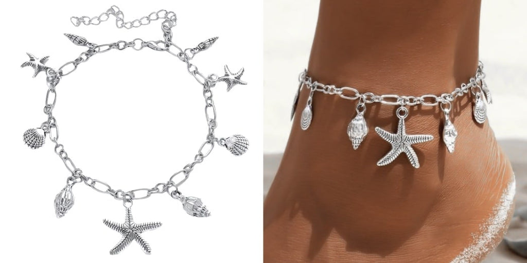 Silver Beach Charm Anklet