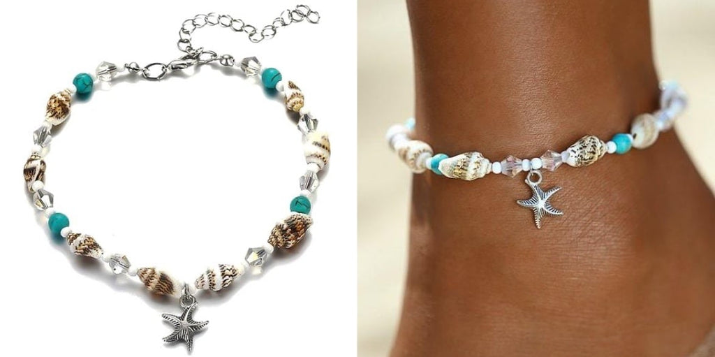 Beaded Conch Shell Anklet