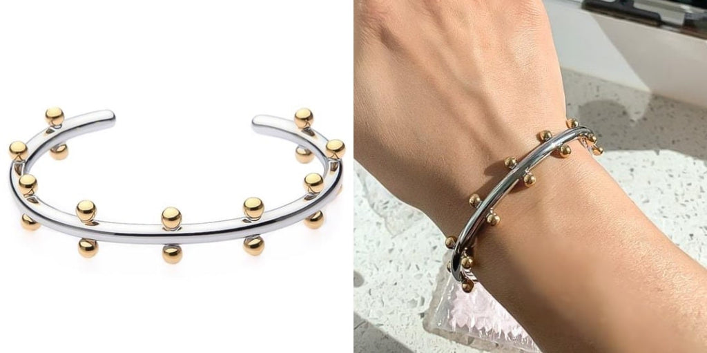Beaded gold and silver two-tone cuff bracelet