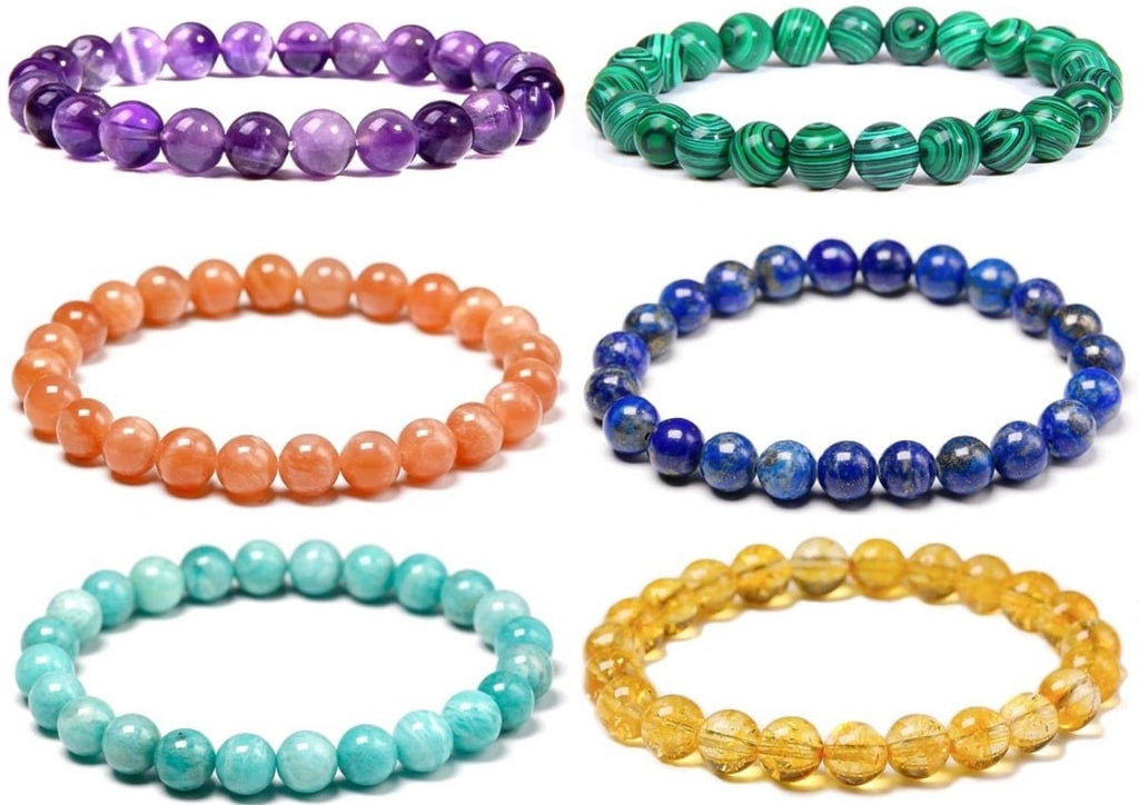 Colorful beaded natural stone and crystal bracelets for summer