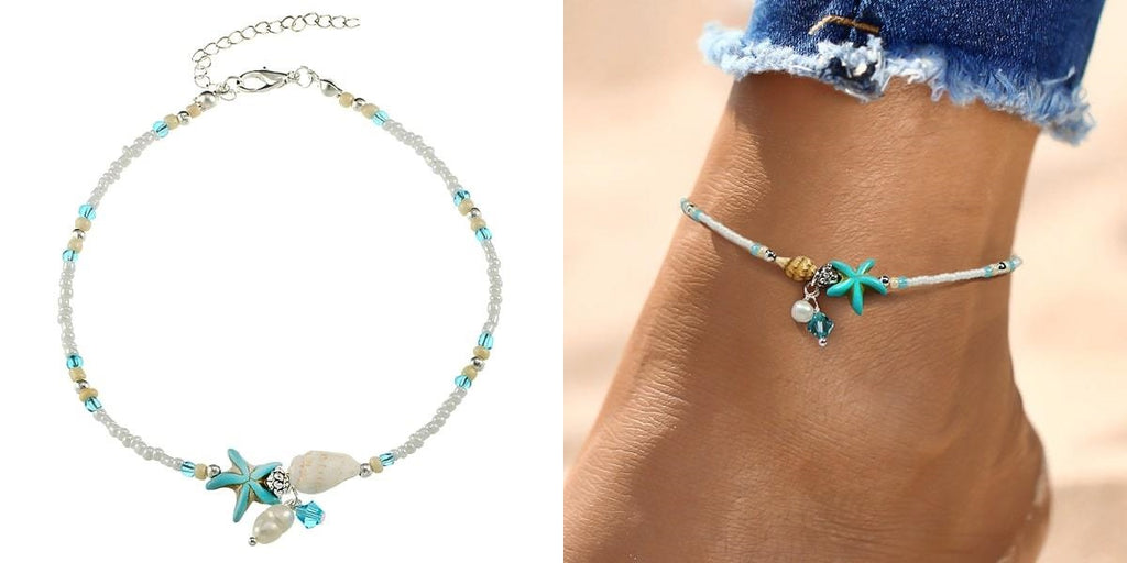 Beaded beach anklet with a shell, starfish, & pearls