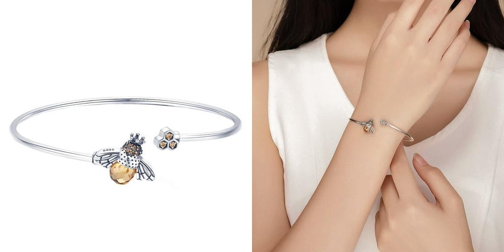 Silver bee cuff bracelet for her