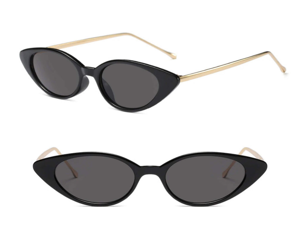 Black and gold cat eye sunglasses