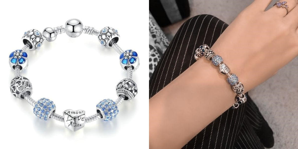 Silver and blue love charm bracelet