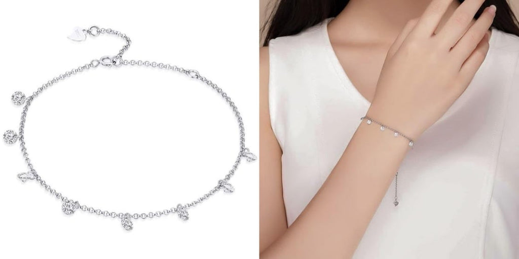 Sterling silver crystal charm chain bracelet