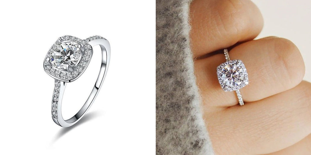 Cubic zirconia halo engagement rings