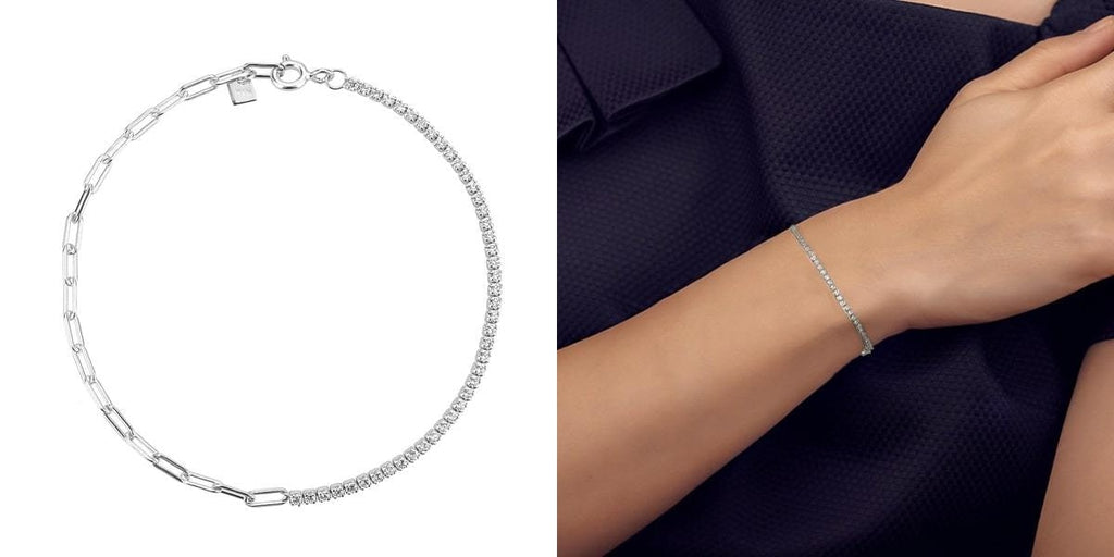 Dual chain bracelet for her