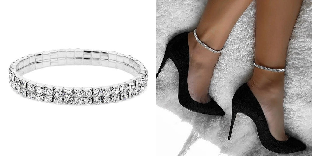 Elastic 2-row stretch crystal anklet
