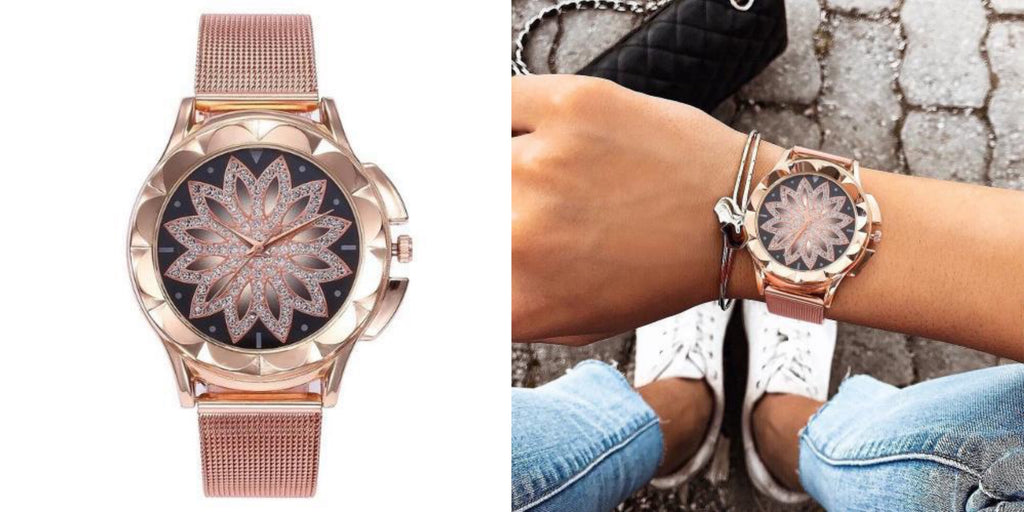 Affordable Rose Gold Flower Watch