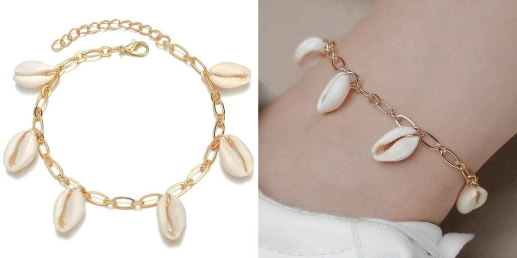 Gold Seashell Charm Anklet