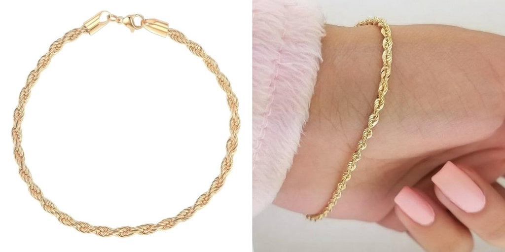 Gold rope chain bridesmaid bracelet for weddings