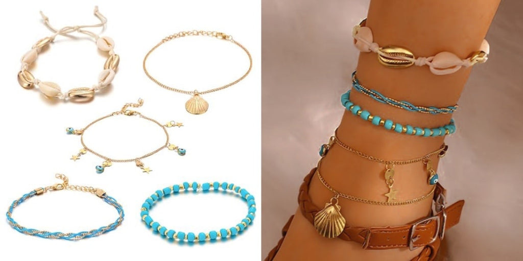 Gold Turquoise Shell Anklet Set