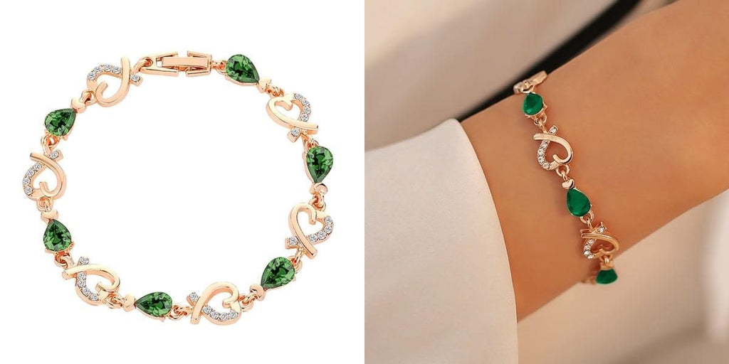 Gold and green heart chain bracelet