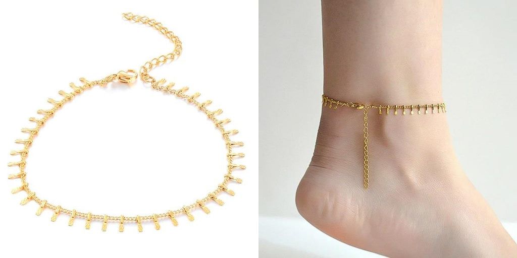 Gold lucky charm ankle chain