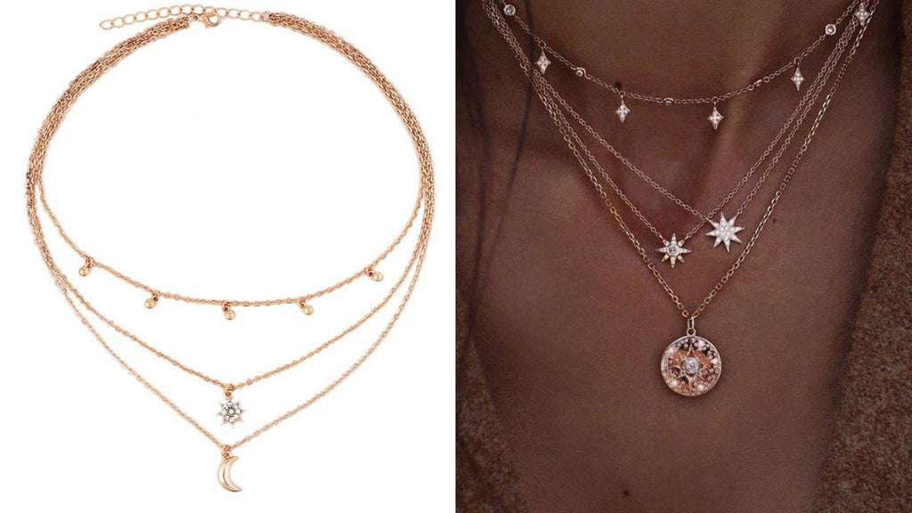 Layered Star & Moon Necklace
