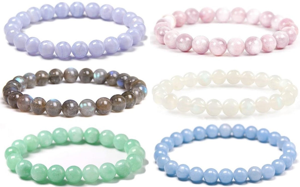 Natural stone crystal bridesmaid bracelets for weddings