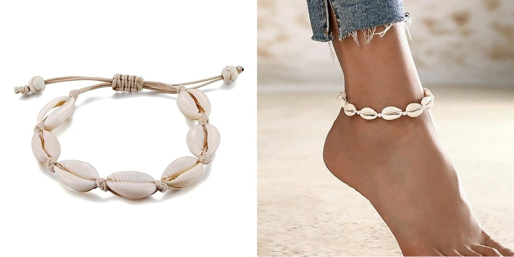 Natural cowrie shell anklet