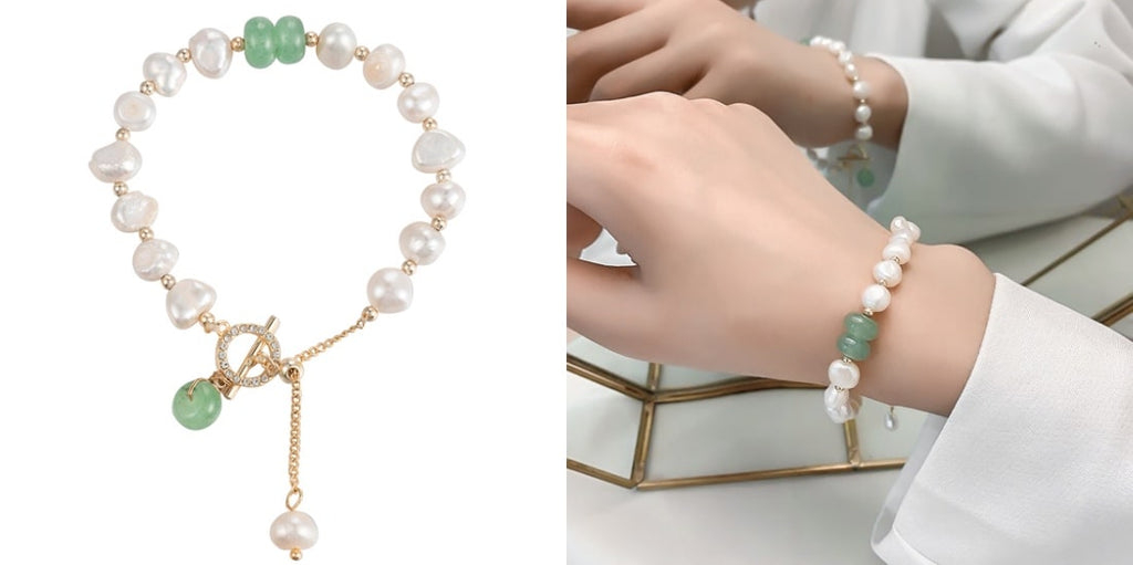 Green jade and white pearl bridesmaid bracelet for weddings