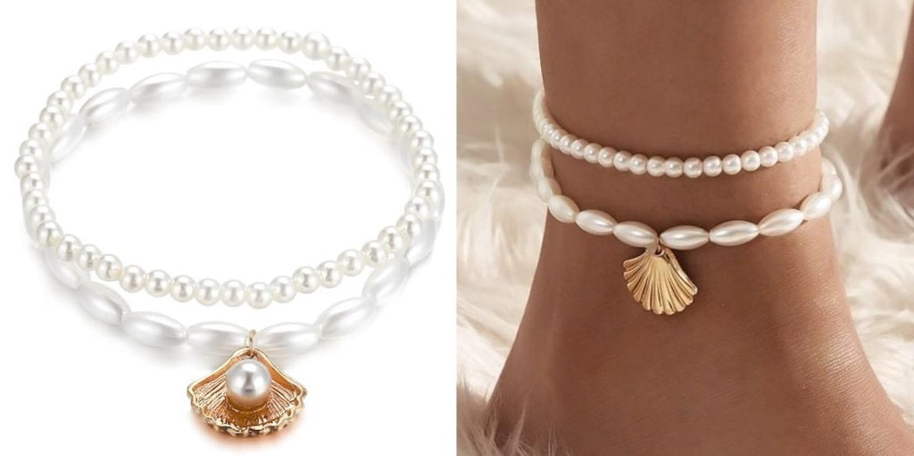 Pearl Seashell Anklet Set