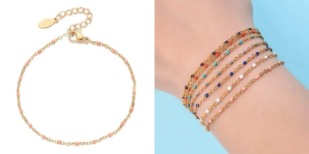 Pink and gold beaded chain bracelet