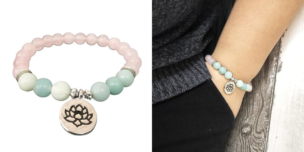 Pink and green lotus charm bracelet